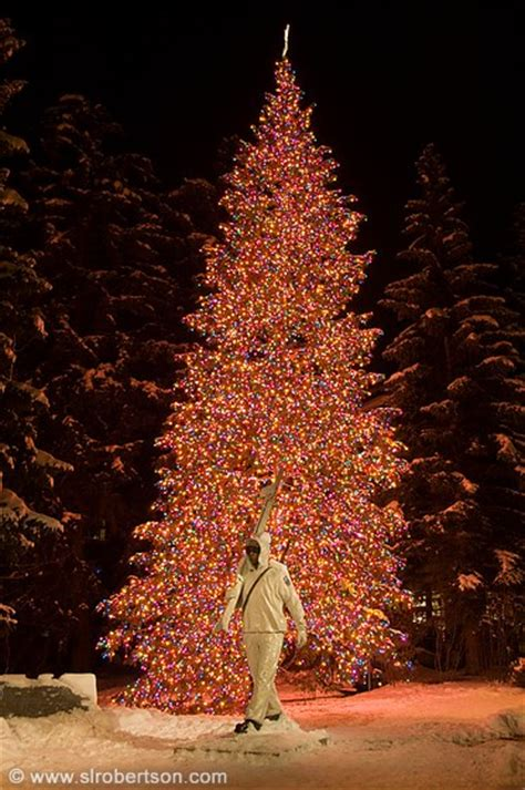 colorado mountain christmas tree photo of vail lights 2 and army 10th mountain division statue l robertson