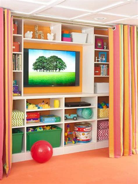 Curtains For Playroom 20 Clever Basement Storage Ideas