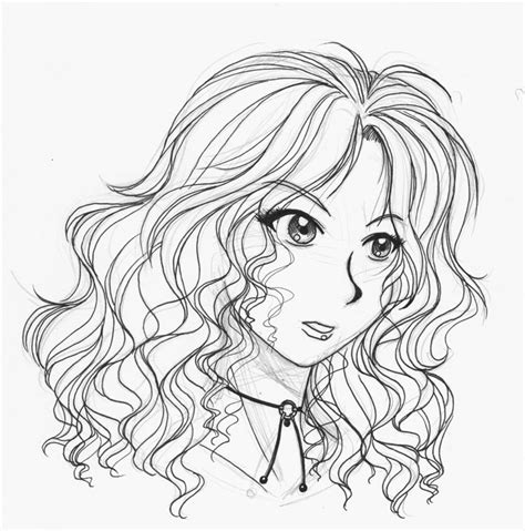 line art hair tutorial line anime with hair lineart girl long hair by