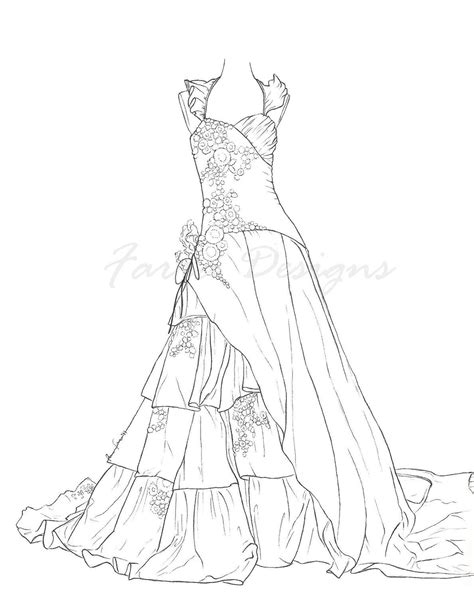 princess gown coloring pages dress coloring 01 pinteres