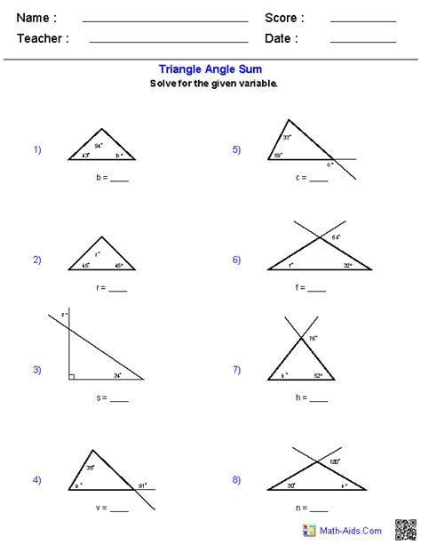 finding missing angles of a triangle worksheet geometry worksheets triangle worksheets