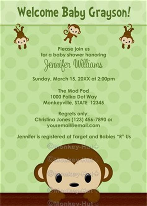 monkey baby shower invitation polka dot green boy girl