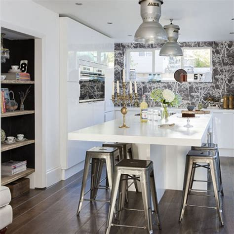 kitchen island with stools uk white kitchen with industrial style steel stools modern