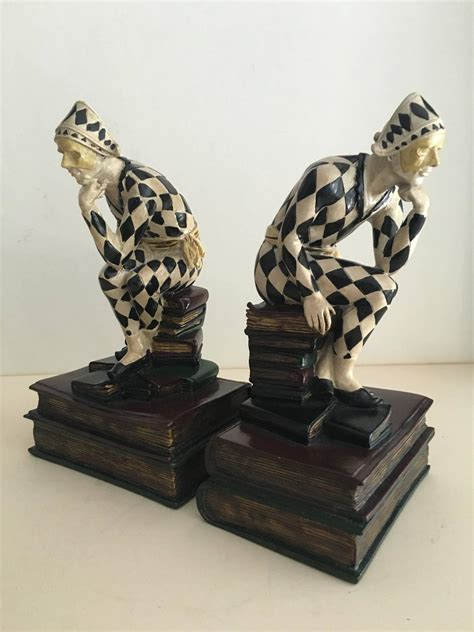 Unique Bookends | unique pair of harlequin bookends for sale at 1stdibs