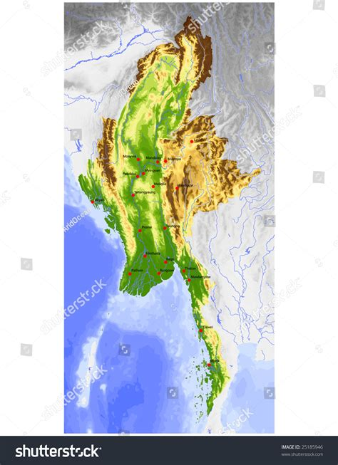 myanmar physical map burma myanmar physical vector map colored stock vector