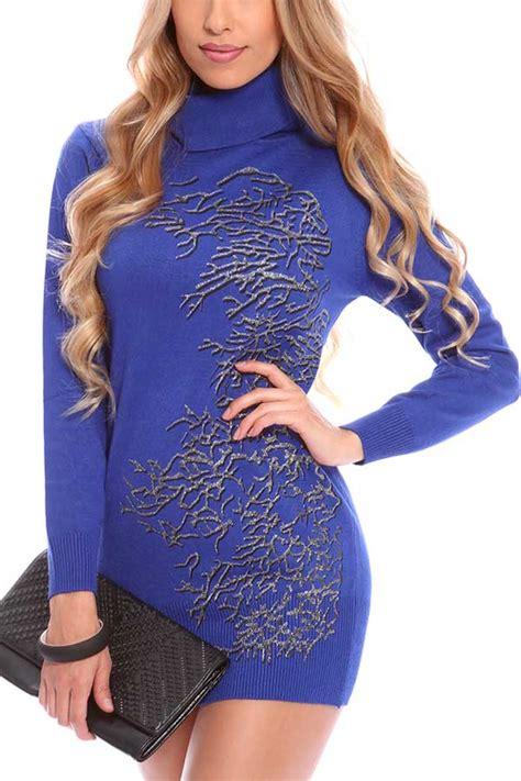 blue turtle neck glitter print sweater dress  sweater