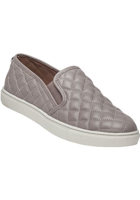 Leather Quilted Slip On Sneakers by Steve Madden Ecentrcq Grey Quilted Slip On Sneaker In Gray