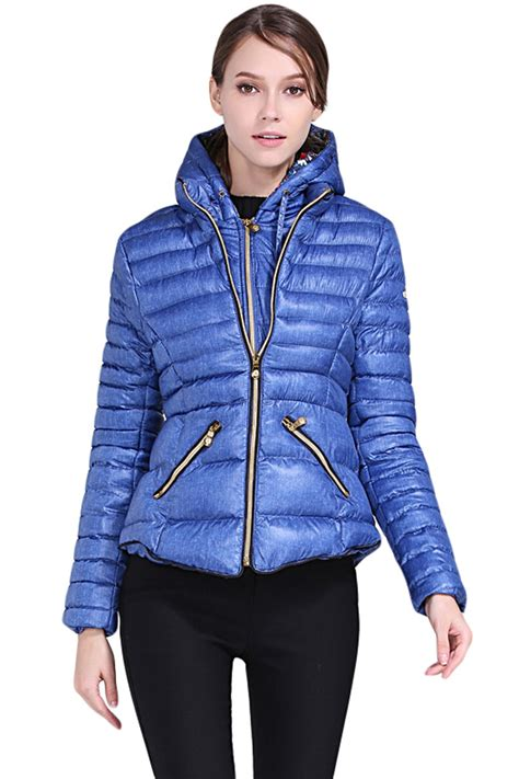 Hooded Zipped Jacket blue hooded cotton jacket with zipped pockets