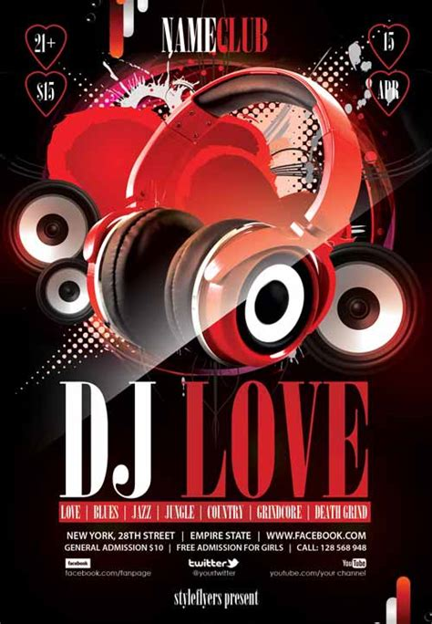 free templates for dj flyers download the dj love free flyer template