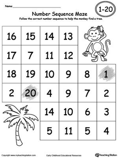Number Sequencing Worksheets by Practice Number Sequence With Number Maze 1 20 Maze