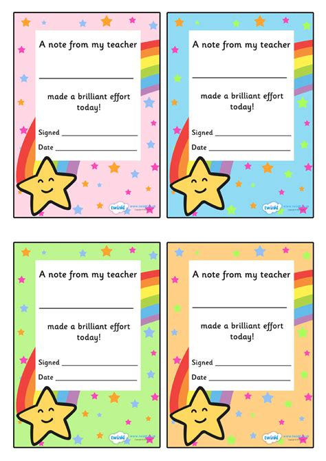 printable birthday cards ks1 twinkl resources gt gt note from teacher brilliant effort
