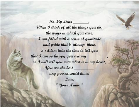 personalized poem wolf and eagle print over 50 name styles