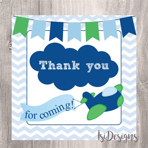 printable thank you tags for birthday favors thank you tags printable airplane baby shower favor tags
