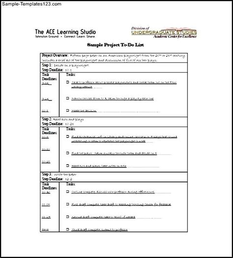 project to do list free download sle templates