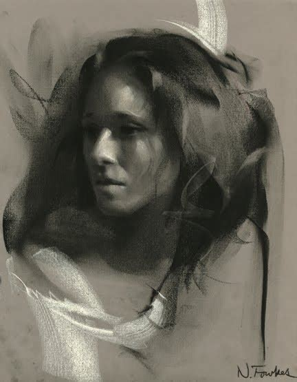 portrait drawing in charcoal self study with nathan fowkes