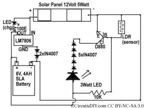 solar to 6v batt to led emergency light circuit circuits diy