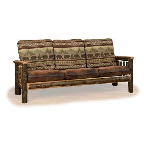 log couch rustic hickory log faux leather sofa furniture barn usa