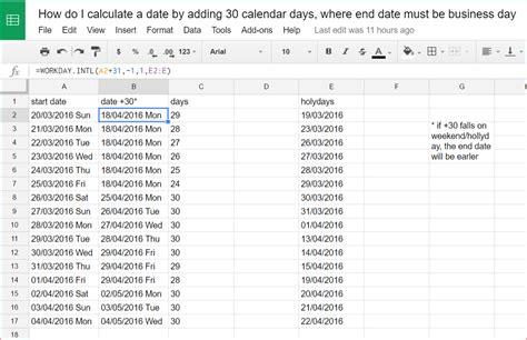 Calculate Calendar Days Excel How Do I Calculate A Date By Adding 30 Calendar