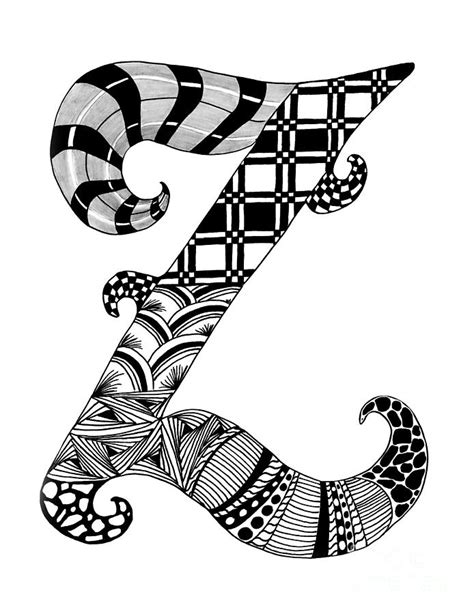 Letter Z Drawing by Letter Z Monogram Drawing By Nan Wright