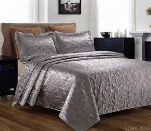 Satin Coverlet 3 Silky Satin Gray Quilted Bedspread Coverlet Set
