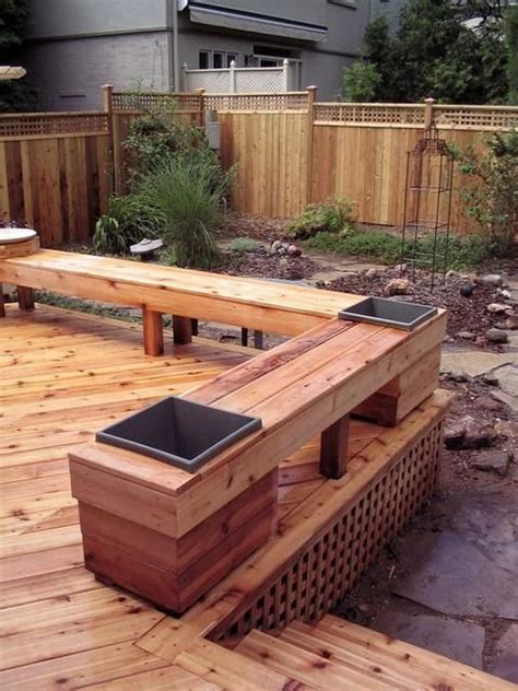 deck bench designs bench for deck i like the planters built in backyards