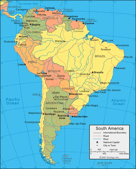 political map of south america south america map and satellite image
