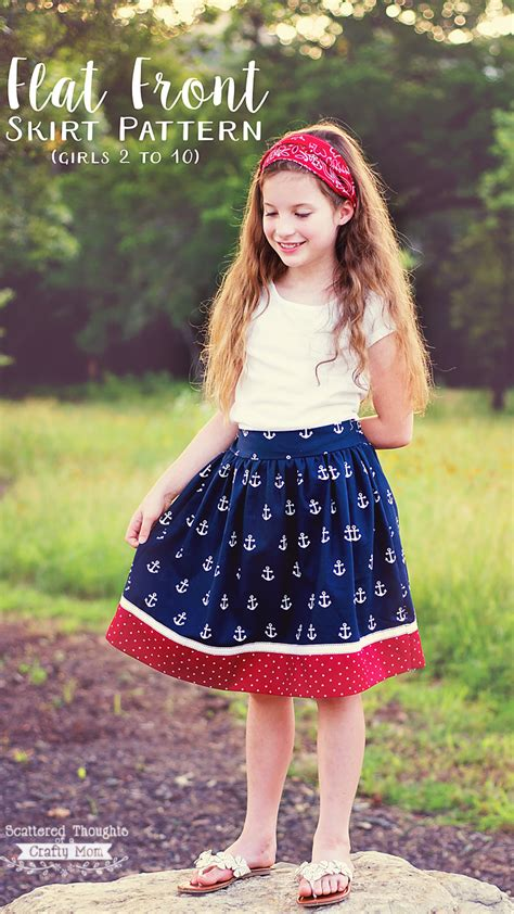 Flat Front Skirt white and blue flat front skirt scattered thoughts