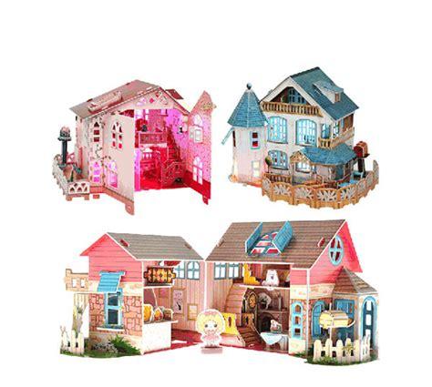 diy 3d home design new design diy toys 3d puzzle paper house with led light