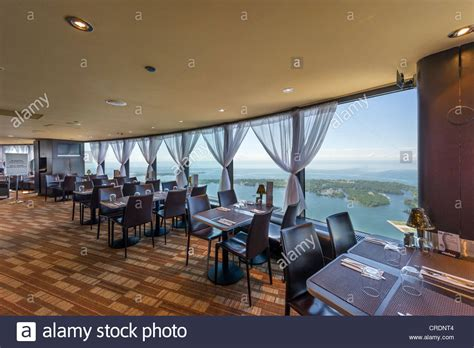 Cn Tower Interior by View Lake Ontario From The Horizons Restaurant On The