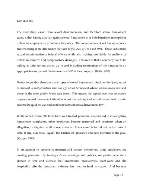 sexual harassment letter template sexual harassment in restaurants