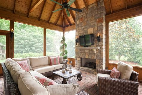 House Plans With Screened Porches nashville screen porch outdoor fireplace the porch