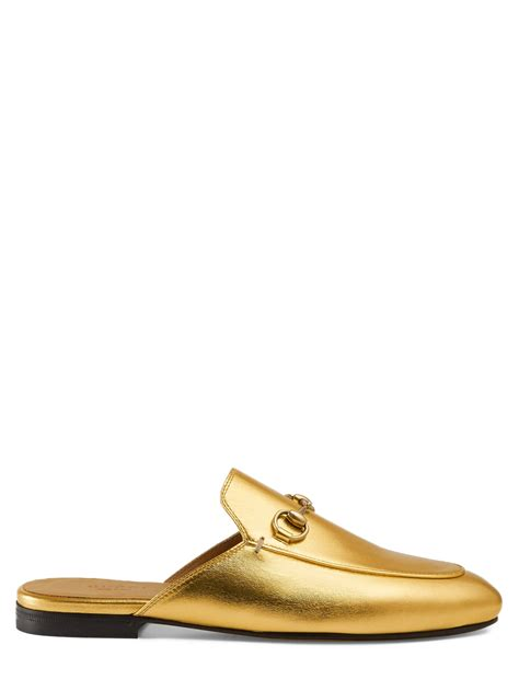 metallic loafers for gucci princetown metallic loafer in gold lyst