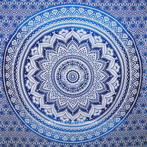 blue pattern tapestry small blue goddess ombre mandala tapestry floral wall