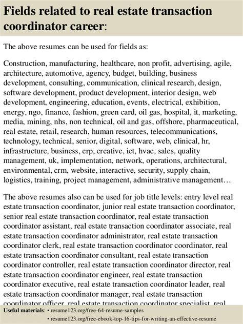 Real Estate Transaction Coordinator Resume Sle Top 8 Real Estate Transaction Coordinator Resume Sles