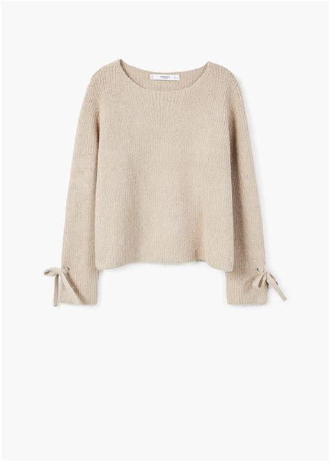 lyst mango bow textured sweater