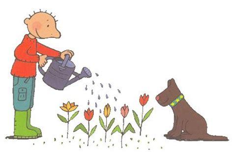 bloem zandbak groot thema lente jules geeft de bloemen water jules lente