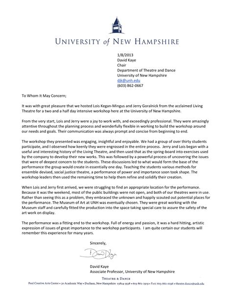Roanoke College Letter Of Recommendation The Living Theatre Workshops Of New Hshire