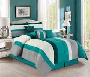 teal color comforter sets 7 stripe micro suede teal ivory gray comforter set