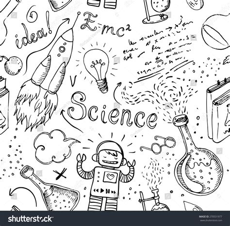 pattern lab deutsch back to school science lab objects doodle vintage style