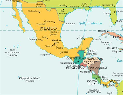 map of mexico central america show me a map of central america mexico and guatemala