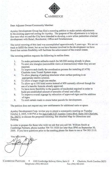 Zoning Request Letter Creek Residents Association