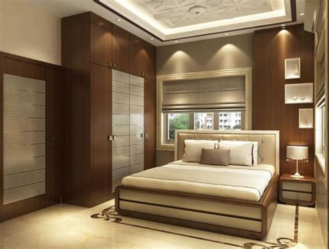 modern bedroom  wooden designed wall  wardrobe