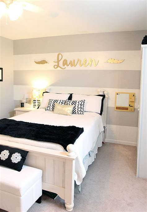 cool ideas for bedroom walls cool girl s room gray striped walls black and