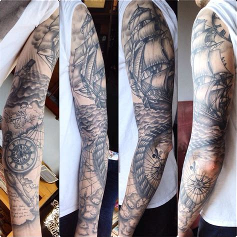 black and grey nautical tattoo nautical black grey sleeve done by susy at wallington