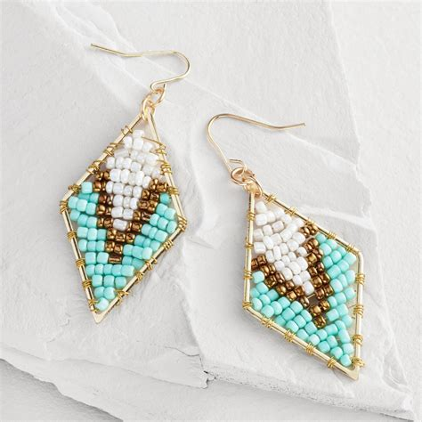 beaded triangle earrings turquoise and bronze beaded triangle drop earrings world