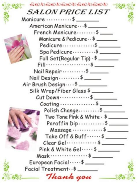 nail price list template nail salon prices
