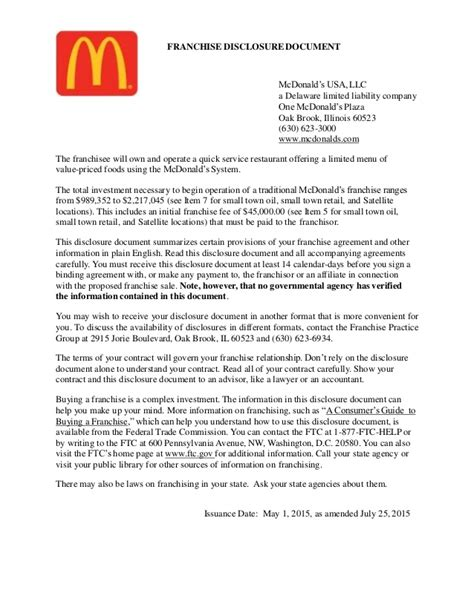 Mcdonald S Franchise Disclosure Agreement Review Franchise Fdd Template