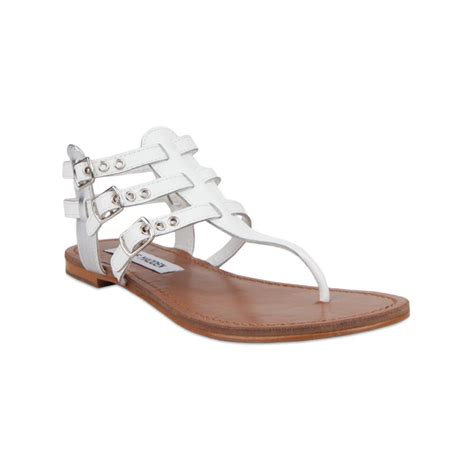 steve madden sandals flat steve madden saahti flat sandals in white lyst