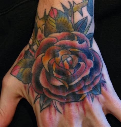 hand tattoo red rose tattoos page 86