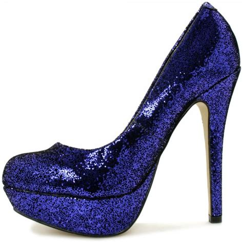 saucy stiletto heel platform court shoes blue glitter